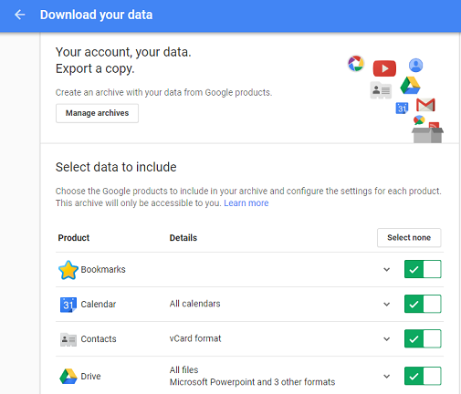 google takeout transfer backup