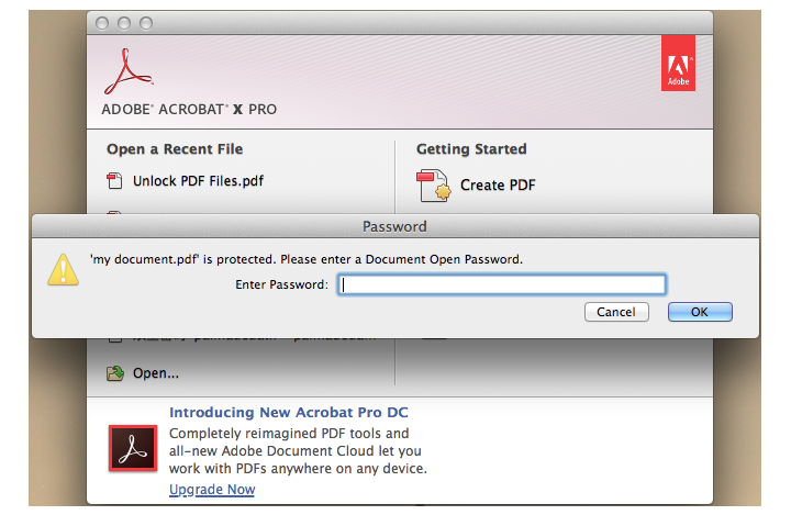 password protect pdf file mac