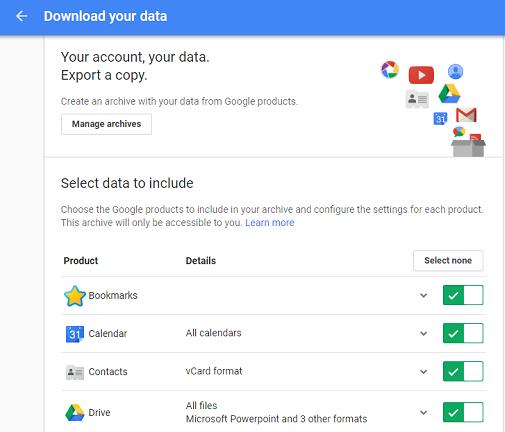 google takeout transfer backup