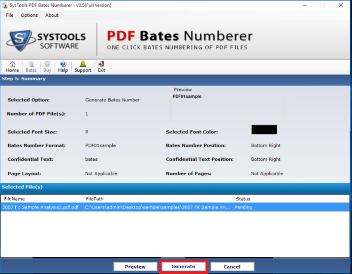converting process of pdf page numberer
