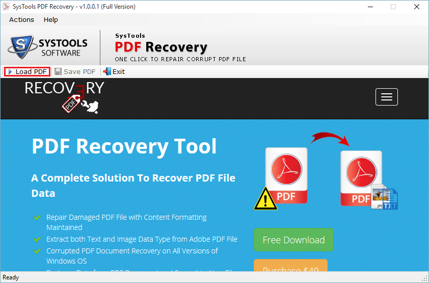 run pdf recovery software